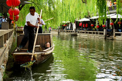 Boatman on Canal, Zhouzhuang, China Royalty Free Stock Image