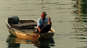 Boatman Causeway Bay Hong Kong Stock Photography