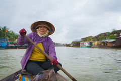 Boatman with Conical hats in Vietnam Royalty Free Stock Photo