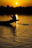 Boatman Dal Lake Srinagar Sunset Kashmir Stock Photos