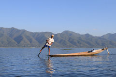 The boatman on the Inle lake, Myanmar (Burma) Royalty Free Stock Photo