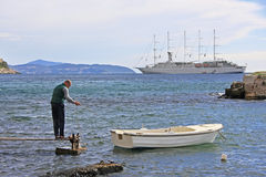Boatman at Old City Harbour, Dubrovnik, Croatia Stock Photography