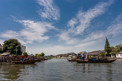 Boatman transports tourists by Chinese gondola on canal Stock Images