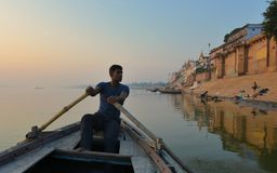 Boatman in Varanasi Royalty Free Stock Images