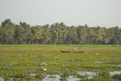 Boatman, Vembanad-Meer, Kumarakom, Kerala, India Stock Foto