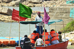 Boatman and visitors of chambal river Stock Photography