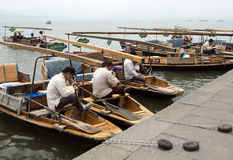 Boatmen on the Xihu (West Lake), Hangzhou, China Royalty Free Stock Image