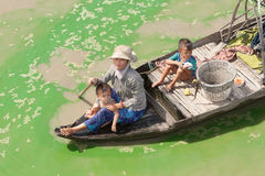 Boatpeople at Tonle Sap Lake in Cambodia Royalty Free Stock Photography