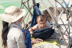 Boatpeople at Tonle Sap Lake in Cambodia Royalty Free Stock Image