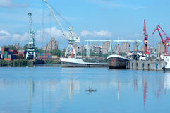 Boats 1. Cargo boats in Rio de la Plata river - La Boca Stock Photo