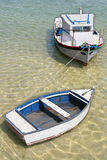 Boats_1. A scenic view of two boats docked Royalty Free Stock Photography