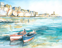 Boats. Boats in a sunny bay watercolor painted.Picture I have created myself Royalty Free Stock Photo