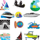 Boats. Vector Illustration of 12 different types of Boats Royalty Free Stock Photo