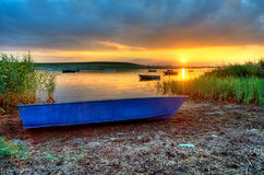 Boats. Fishing boats at a small bay at sunset Royalty Free Stock Image