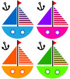 Boats. Playful cartoon sailing ships in different shiny colors (resolution of the image is high enough for the different boats to be used separately Stock Photography