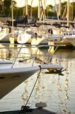 Boats. Chicago Mediterranean Pier. Small BOats and Yachts at the Pier. Vertical Photo. Summer in the Chicago stock photography