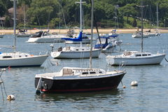 Boats. At anchor on long islands north shore stock image