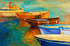 Boats. Original oil painting of boats and sea on canvas.Sunset over ocean.Modern Impressionism Royalty Free Stock Photos