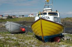 Boats. On a beach in Stykkisolmur, Snaefellsnes peninsula, Iceland Stock Photos
