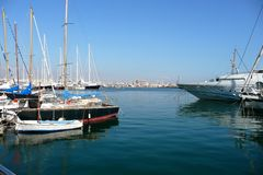 Boats. In a Marina with a view of Palma cathedral Stock Images