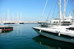 Boats. And Yachts moored in a Marina Royalty Free Stock Photo