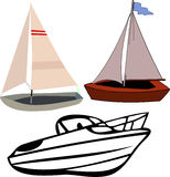 Boats. Illustration of multiple boats in a cartoon style Stock Photography