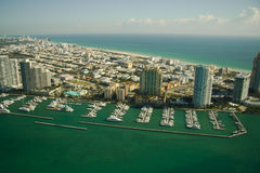 Aerial view of marina in Miami Royalty Free Stock Photography