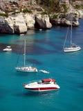 Boats. On Cala Macarella Menorca Stock Images