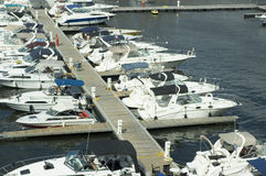 Boats. A bunch of small boats docked at a marina royalty free stock photos