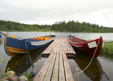 Boats. On river Lemmenjoki in Lappland, Finnland Stock Photography
