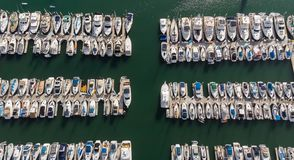 Boats from above in Dana Point, California stock photo