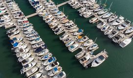 Boats from above in Dana Point, California stock photos