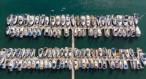 Boats from above in Dana Point, California royalty free stock photos