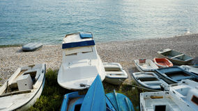 Boats on Adriatic seashore. Royalty Free Stock Photos