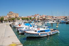 Boats at Aegina Town harbour, Greece Royalty Free Stock Photography
