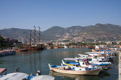 Boats in Alanya harbour Royalty Free Stock Photography