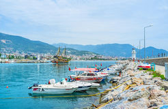 The boats in Alanya port Stock Photos