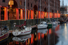 Boats at Albert Dock Liverpool stock image
