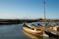 Boats in Albufera Royalty Free Stock Photography