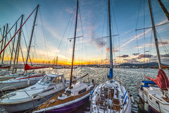 Boats in Alghero harbor Royalty Free Stock Photos