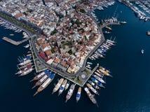 Boats along marina in Marmaris, Turkey Stock Photos