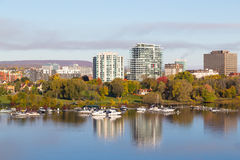 Boats along Ottawa River Royalty Free Stock Image