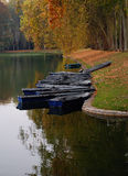 Boats along river in Autumn Royalty Free Stock Image