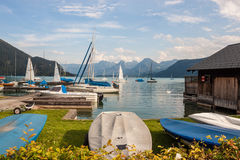 Boats on alpine lake Wolfgangsee Royalty Free Stock Photo