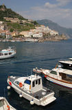 Boats in Amalfi Coast Harbour. Italy royalty free stock photography