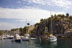 Boats amid the Calanques Stock Image