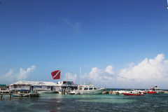 Boats at the Amigos del Mar Dock in San Pedro, Belize Royalty Free Stock Images