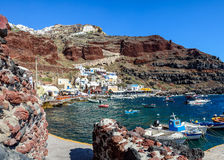 Boats at Amoudi port of Oia town on Santorini island Royalty Free Stock Image