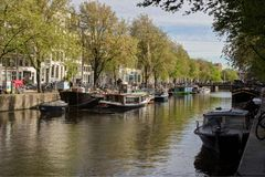 Canal view amsterdam holland europe Stock Images