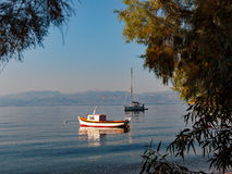 Boats Anchored in Bay, Greece Royalty Free Stock Photography